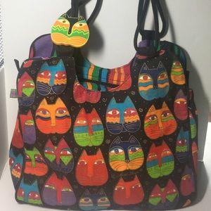 Laurel Burch colorful Cats shoulder bag, tote